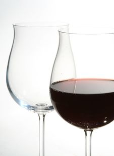 Free Two Wine Glasses With Red Wine Stock Image - 2222601