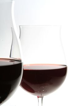 Free Two Wine Glasses With Red Wine Stock Photography - 2222722