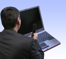 Free Businessman Configuring Stock Photography - 2222802
