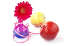 Red Gerber With Two Apples Stock Photography
