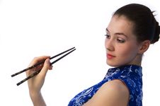 Free Girl With Chopstick 1 Stock Photo - 2224070