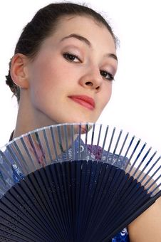 Girl With Fan Stock Photos