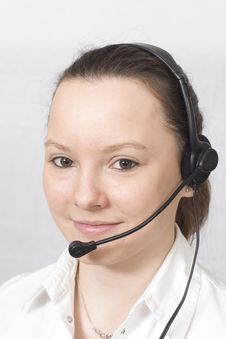 Free Smiling Girl With Headset Royalty Free Stock Photography - 2226217