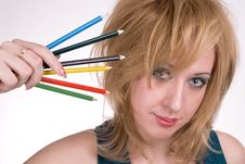 Free The Girl With Pencils Royalty Free Stock Photos - 2226928