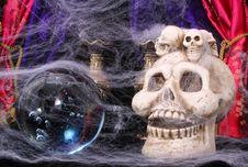 Skull And Crystal Ball Stock Image