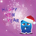 Free Happy New Year Card With Monster Royalty Free Stock Image - 22200476