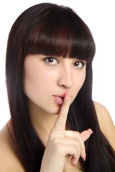 Free Lips And Brown Eyes On Beautiful Woman Face. Royalty Free Stock Images - 22200709