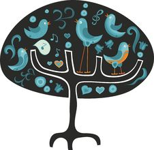 Free Tree With Birds Singing And Talking On Royalty Free Stock Images - 22201109