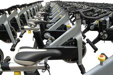 Free Spinning Bikes On White Royalty Free Stock Image - 22203526