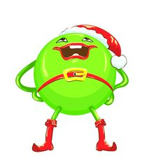 Free Vector Cartoon Funny Round Green-colored Monster Stock Image - 22205261