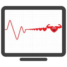 Free Monitor Showing Healthy Heart In Graph Royalty Free Stock Photos - 22209048