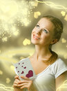 Free Attractive Happy Girl , Reading Valentine Card Stock Photography - 22212732