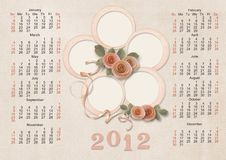 Free Retro Calendar 2012 For A Family - Week Starts Wit Royalty Free Stock Photos - 22211808