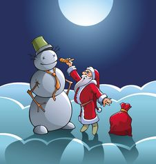 Free Santa And Snowman Stock Photo - 22211900