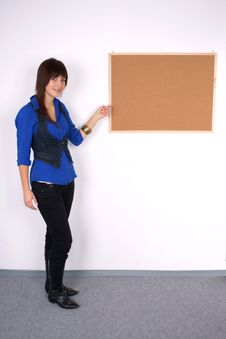 Free Beautiful Woman Pointing At The Board. Stock Photo - 22213050