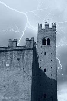 Lightning Over The Castle Royalty Free Stock Photos