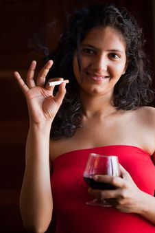 Free Indian Happy Girl With Wine Royalty Free Stock Images - 22214939