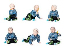 Free Collage A Little Boy In A Plaid Dress Royalty Free Stock Photo - 22217145