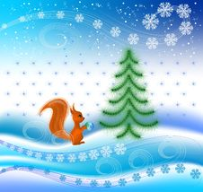 Squirrel Decorates A Christmas Tree Royalty Free Stock Photo