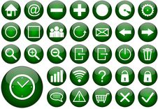 Free Green Round Web Button Set Royalty Free Stock Photography - 22218927