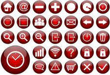 Free Red Round Web Button Set Royalty Free Stock Images - 22218939