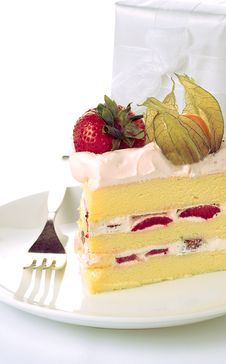 Strawberry Sponge Cake Stock Photos