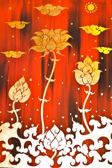 Free Gold Flower Painting In Red Background Royalty Free Stock Photography - 22226497