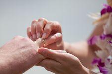 Puttting On A Wedding Ring Stock Image