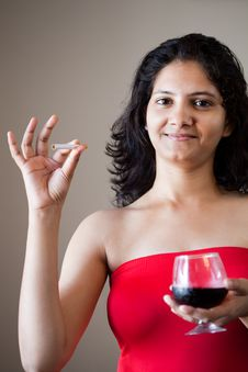 Free Indian Happy Girl With Wine Stock Images - 22235244