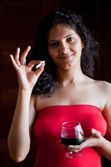 Free Indian Happy Girl With Wine Royalty Free Stock Image - 22235276