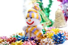 Free Snowman On The Background Of Christmas Decorations Stock Images - 22236294