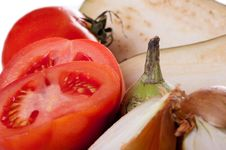 Free Eggplant, Tomatoes And Onions. Stock Photo - 22237660