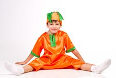 Free Cheerful Boy In Carrot Fancy Dress Stock Images - 22239594