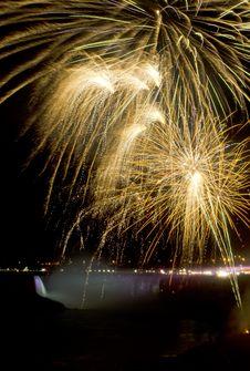 Fireworks Over Niagara Falls Stock Images