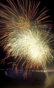 Fireworks Over Niagara Falls Royalty Free Stock Image