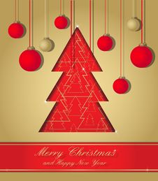 Gold And Red Christmas Postcard Royalty Free Stock Images
