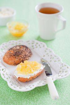 Bread With Lemon Jam Stock Photos
