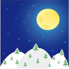Free Night Winter Landscape With  Trees And  Moon Royalty Free Stock Images - 22249799