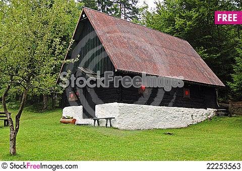 Free Black And White Mountain Chalet - Italy Alps Stock Photos - 22253563
