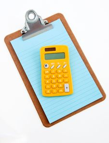 Free Yellow Calculator On Clipboard Royalty Free Stock Images - 22253929