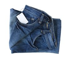 Free New Blue Jeans Trouser And Tag Royalty Free Stock Photo - 22255535