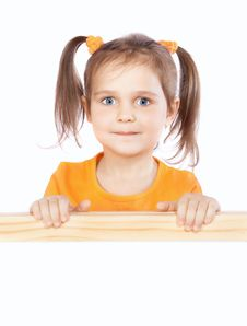 Free Little Girl Holding A Billboard Stock Images - 22257674