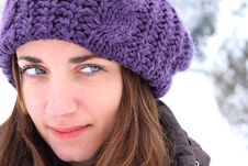 Free Girl With A Purple Hat, Winter Fashion Stock Image - 22262921