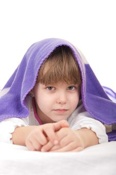 Free Child Under Purple Blankets Stock Image - 22263651