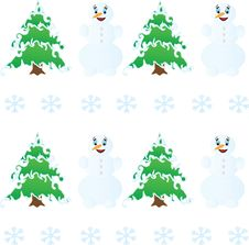 Free Winter Christmas Seamless Pattern  And Snowman Royalty Free Stock Photography - 22265187