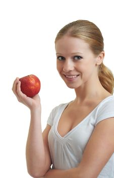 Free Pretty Girl Holding A Red Apple Stock Image - 22270071