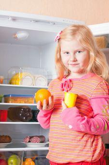 Free Girl On Background Fridge Royalty Free Stock Images - 22270179