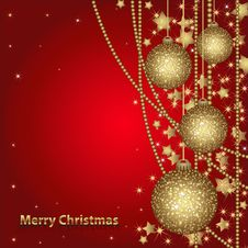 Free Christmas Card With Gold Balls Stock Images - 22271354
