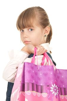 Picture Of Happy Little Girl With Gift Stock Images