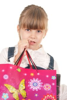 Picture Of Happy Little Girl With Gift Royalty Free Stock Images